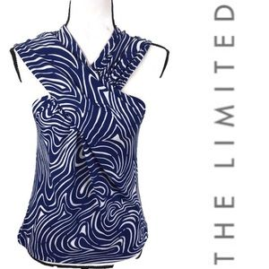 The Limited Blue White Swirl Sleeveless Dressy Top